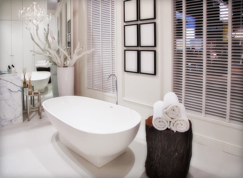 Bathroom with white decorations and design