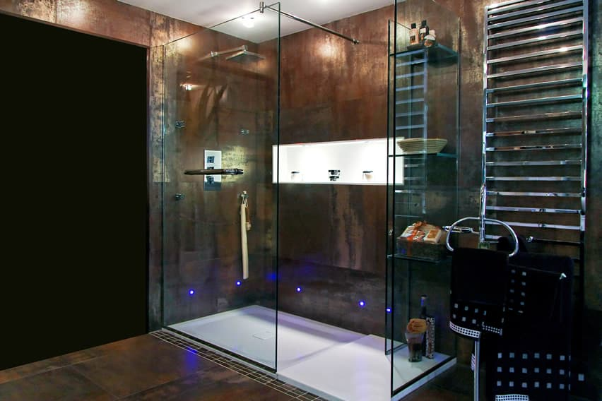 Rustic industrial-inspired bathroom interior with blue neon lighting