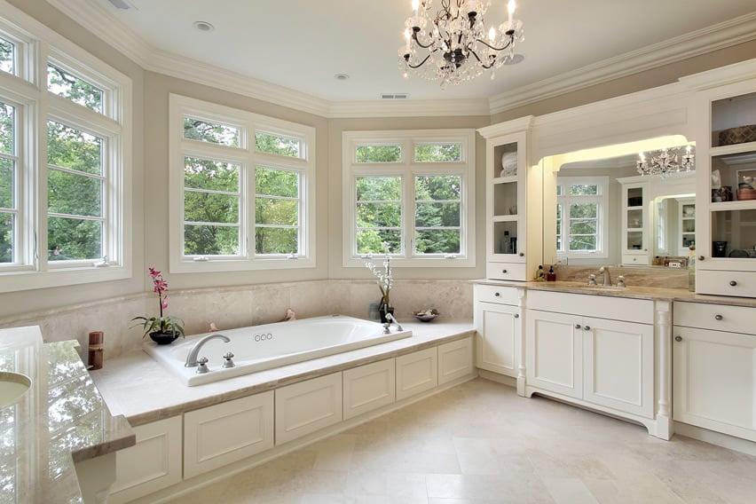 Elegant bathroom in modern royalty style with crystal chandelier