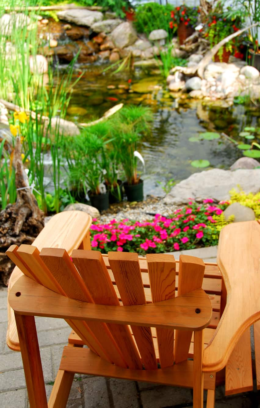 Garden water feature with relaxing sitting area