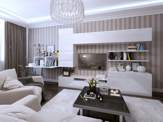living room modern design with glass chandelier