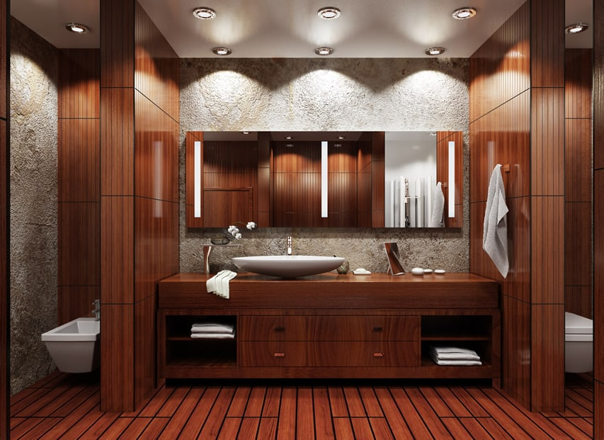 Asian Inspired Modern Bathroom In Mahogony Wood