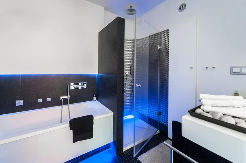 Blue Bathroom Designs Minimalist black white blue bathroom  home design