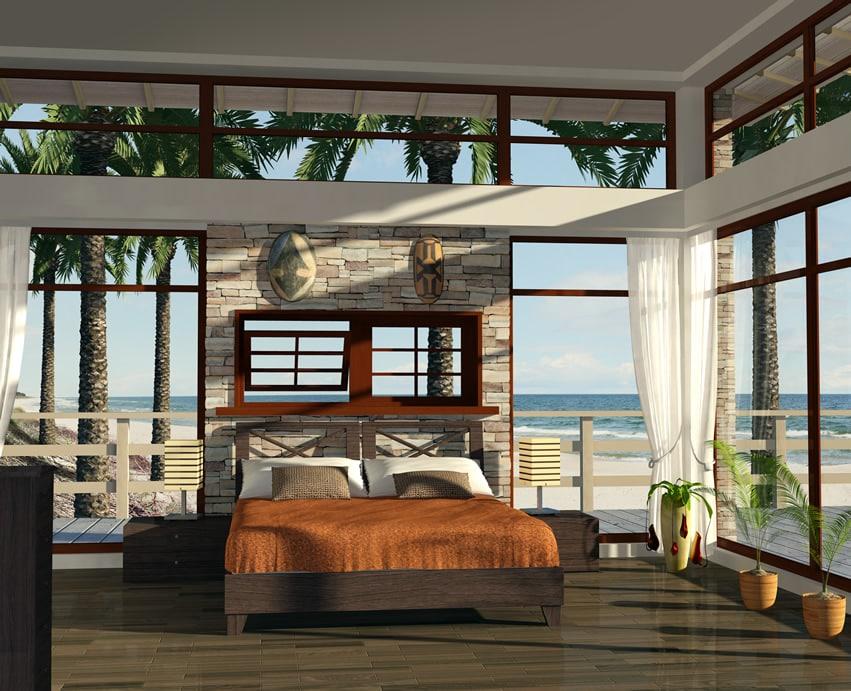 Oceanview luxury bedroom brick accent wall