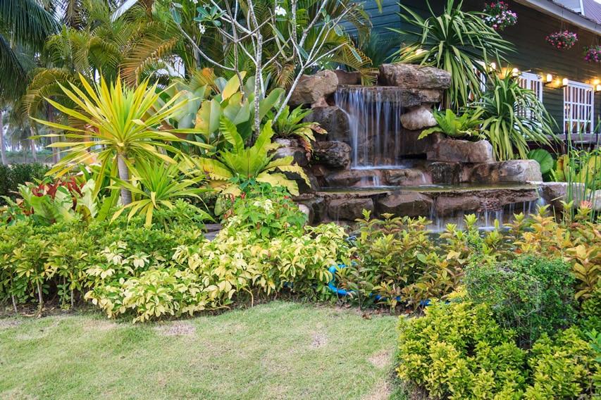 Rock waterfall in garden