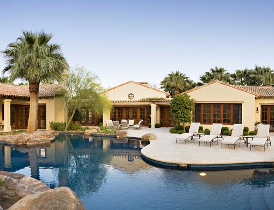 Swimming pool large rocks beautiful house designing idea for Beautiful house with swimming pool