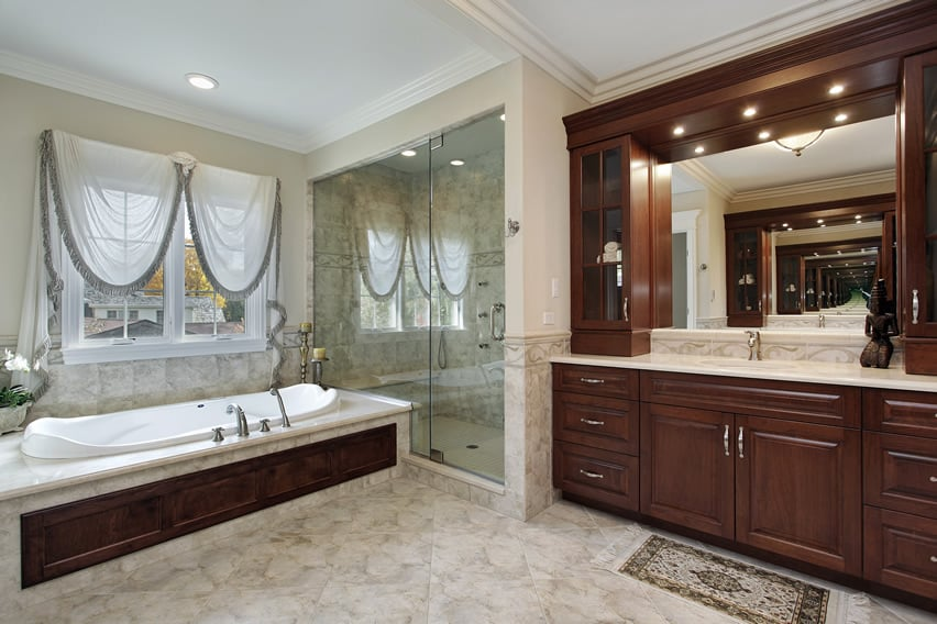 Luxurious bathroom with fusion of classic and modern elements