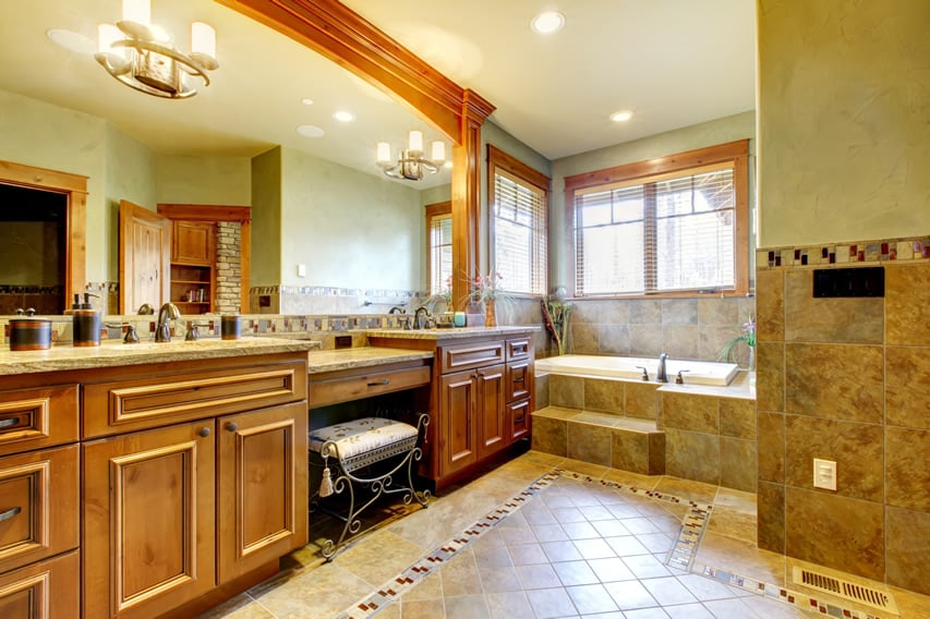 Master bath with multi-colored glass & Capiz mosaic tiles