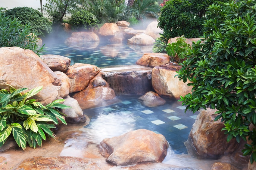 Water feature pond with fog effect