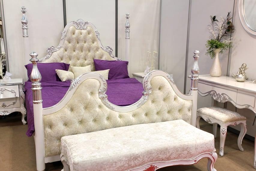 White purple themed luxury bedroom plush bedframe