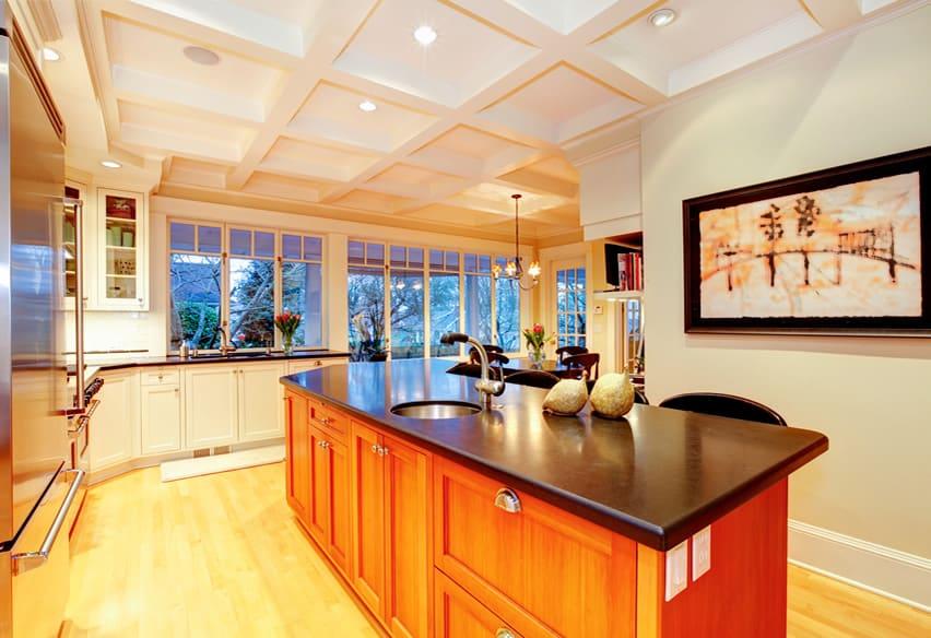 Black counter kitchen island