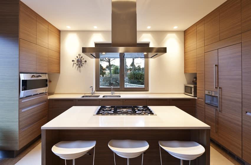 Stylish kitchen island with white modern barstools