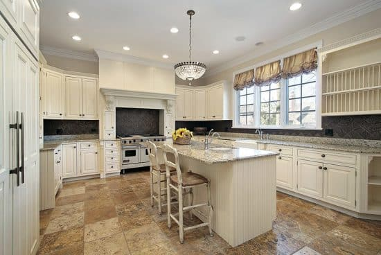 Large elegant u shaped kitchen white cabinets light - Elegant white kitchen cabinets ...