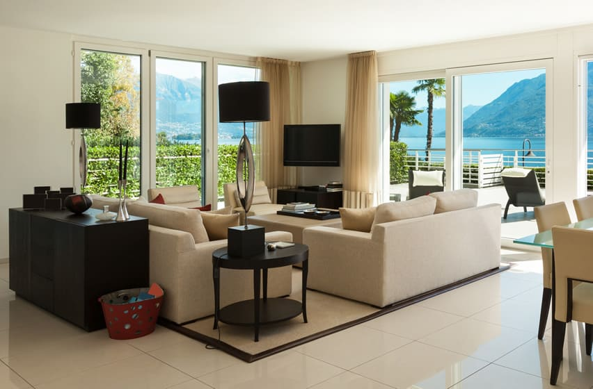 Attractive living room at tropical luxury home