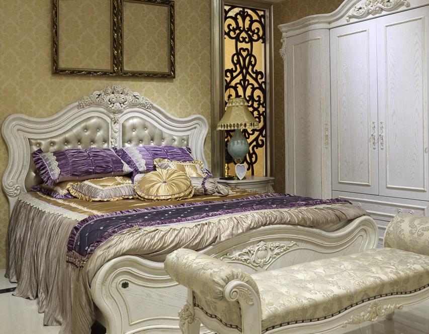 Luxury bedroom with beautiful white wardrobe