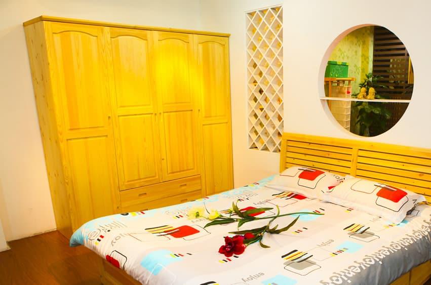 Rustic light color wood wardrobe