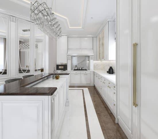 Luxury-white-galley-kitchen
