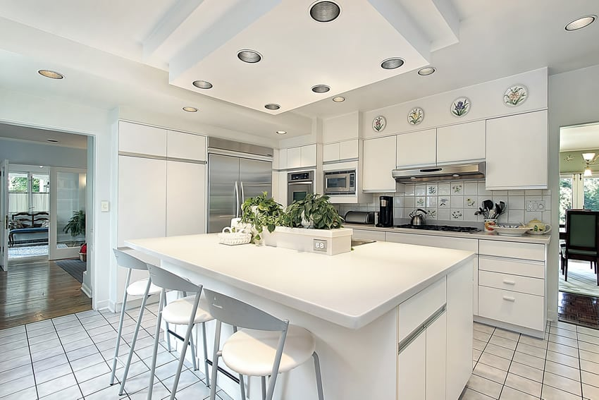 Solid white kitchen with white fridge