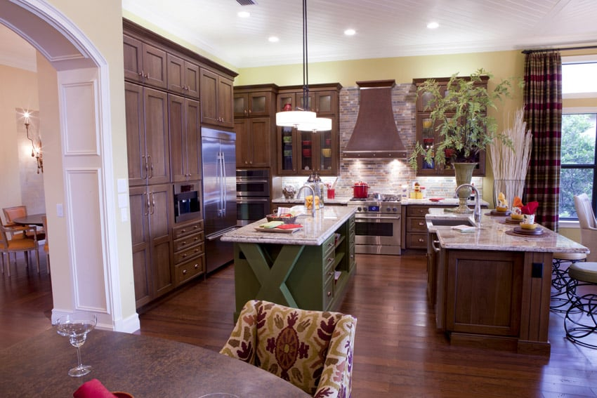Small green custom island in kitchen