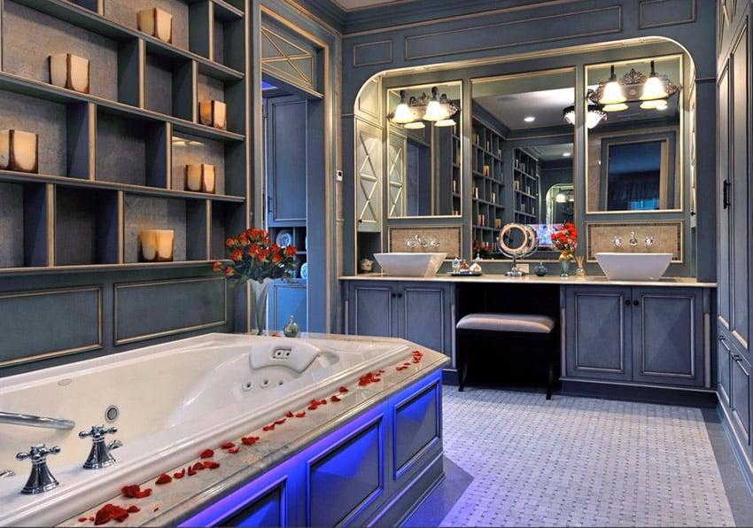 Upscale grey bathroom with wainscoting