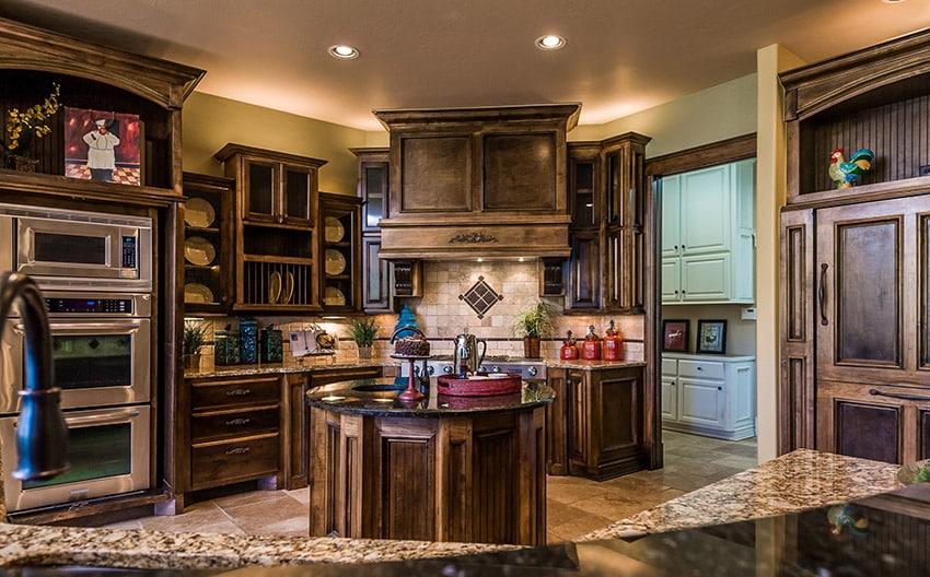 Wood kitchen with round center island