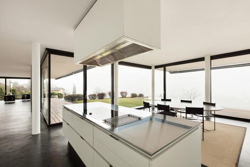 Bright modern kitchen with impressive view