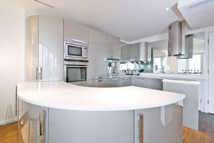 36 stylish small modern kitchens ideas for cabinets for Curved kitchen island designs