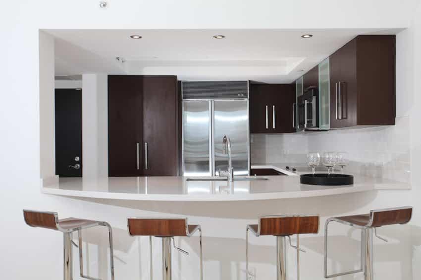 Eat in modern kitchen with white island