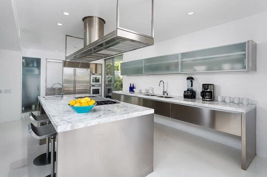 Kitchen with carrara marble counter