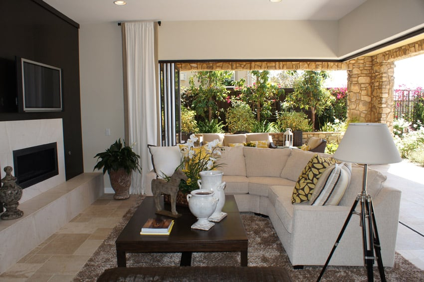Living room with expansive windows with sectional sofa