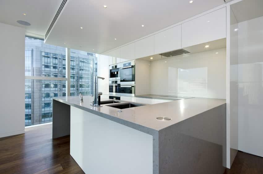 Modern kitchen in high building