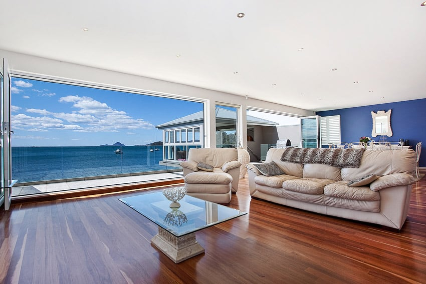 Oceanview living room with wood floors