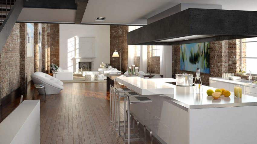 Open concept modern kitchen plan