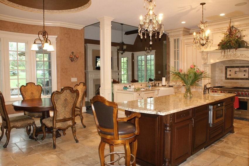Custom kitchen with large wood granite island