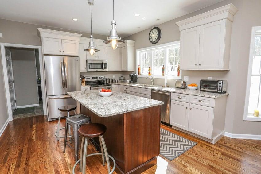 Granite topped kitchen island