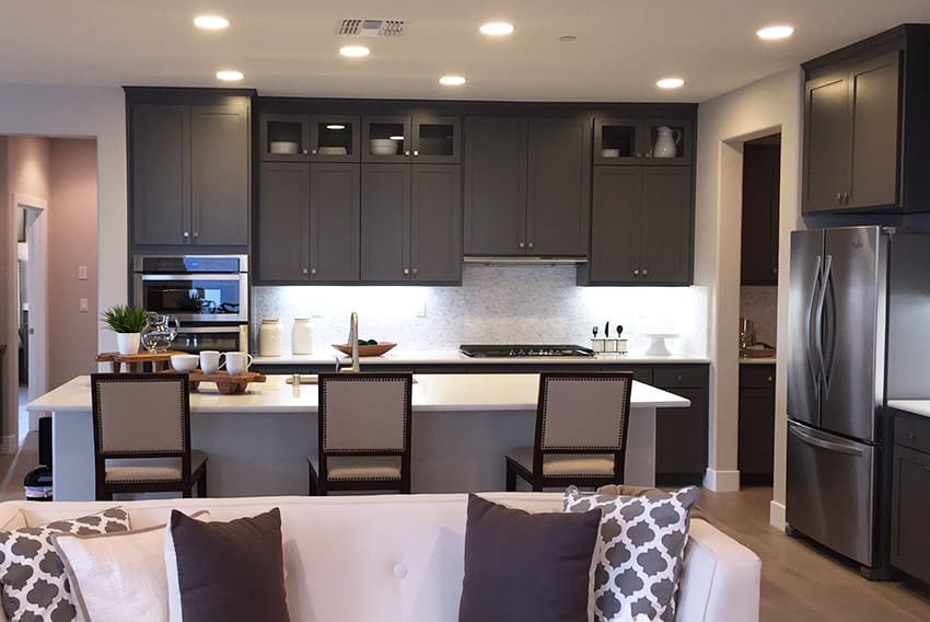 Kitchen in new construction home with long eat in island