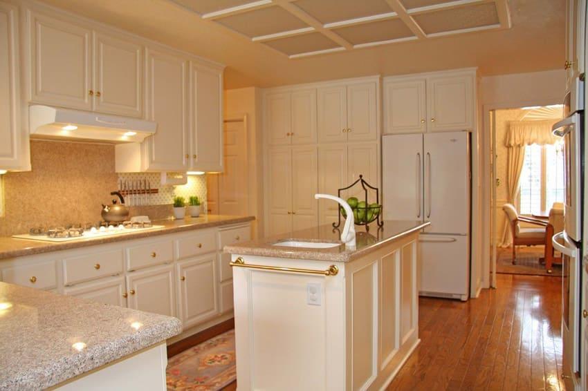 Kitchen island with andino white granite