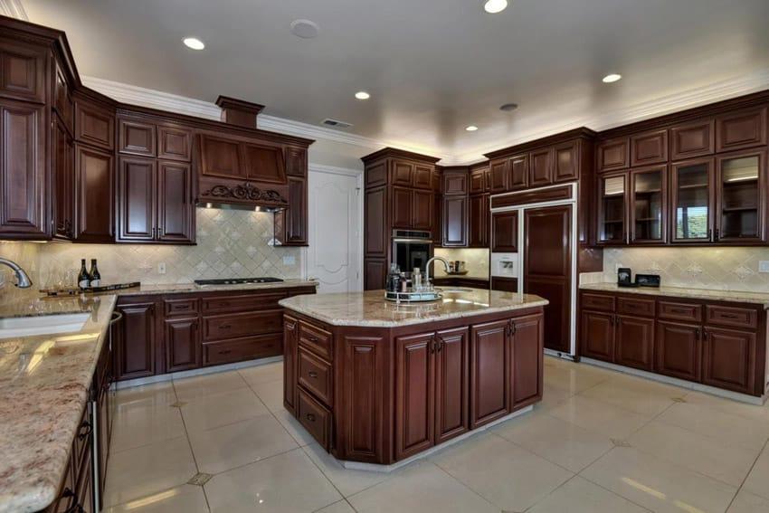 Kitchen island with bordeaux dream granite