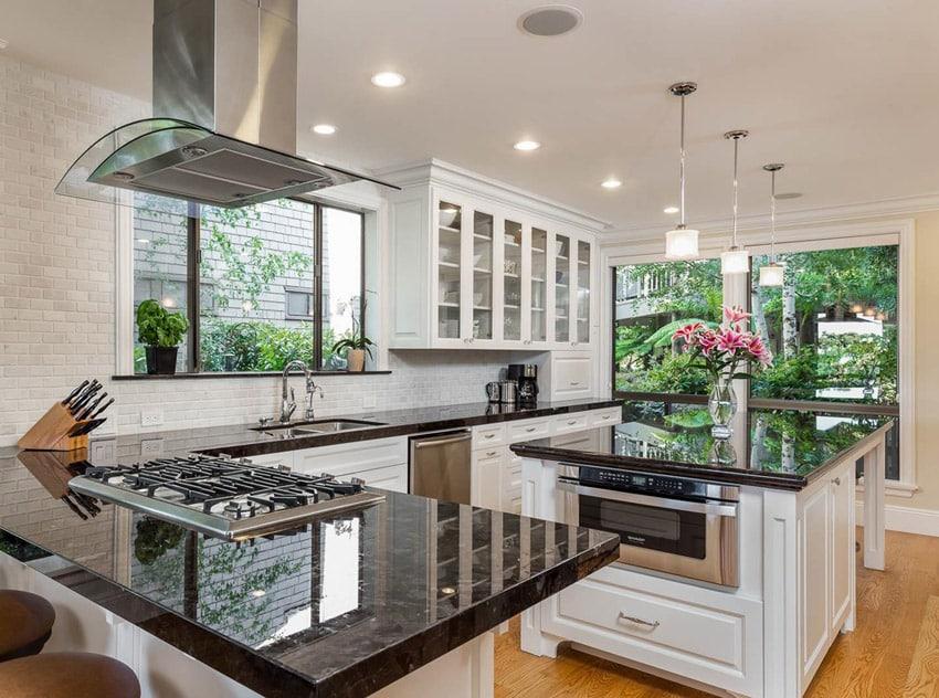 Kitchen island with nordic black galaxy granite