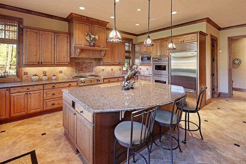 Kitchen island with perla granite