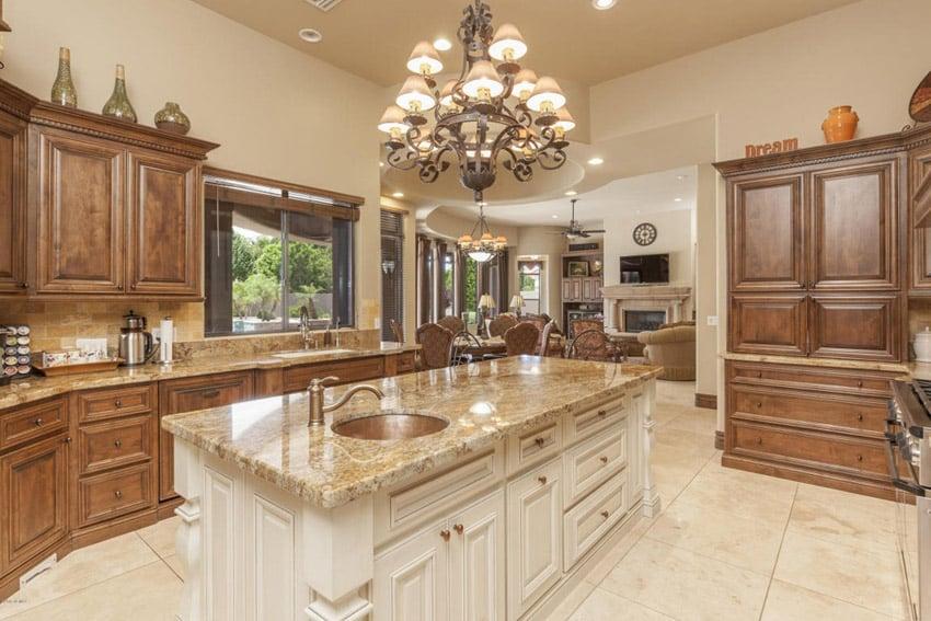 Kitchen with 3 inch granite slab island