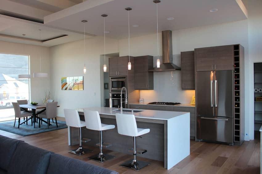 Modern kitchen with dining island