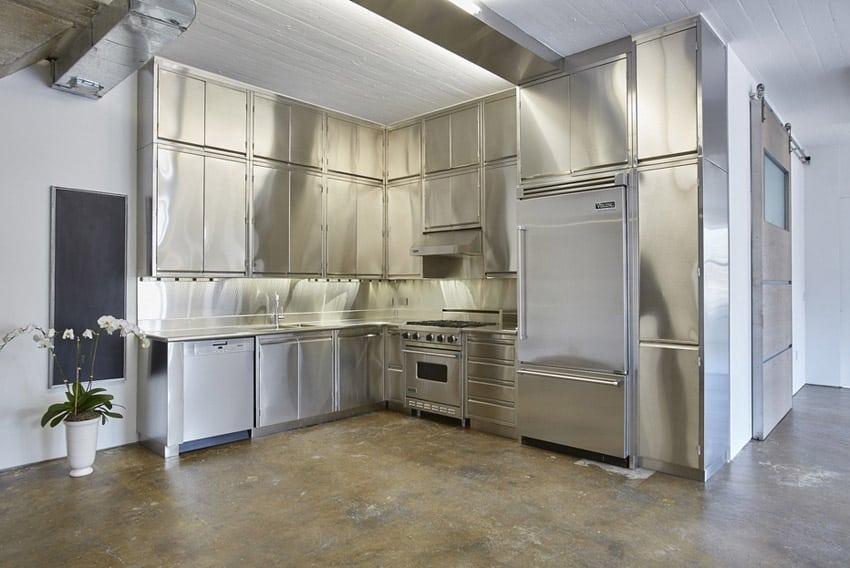 Polished metal modern kitchen in industrial style loft