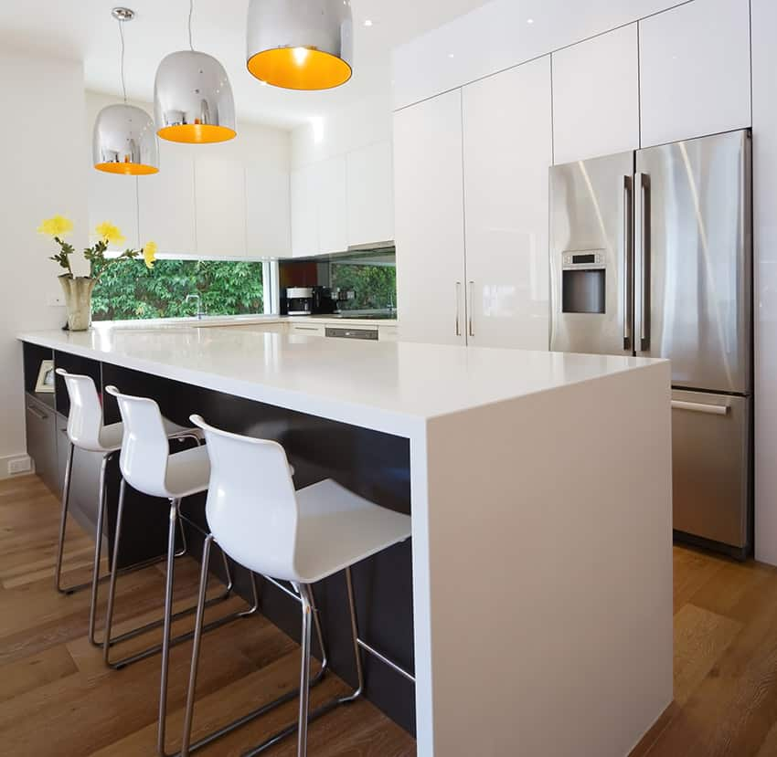 Stylish modern kitchen with large hanging lights