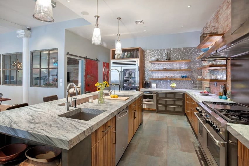 contemporary-kitchen-with-quartz-countertops-and-pendant-lights