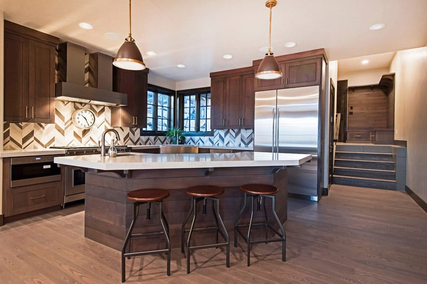Contemporary kitchen with sink built in island