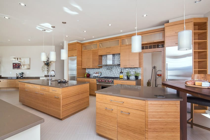 Contemporary kitchen with slate countertops