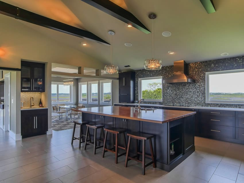 Kitchen with exposed beams open plan layout