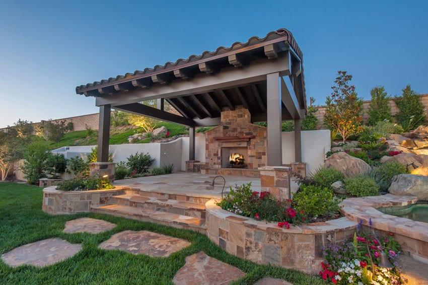 Beautiful walkway to outdoor fireplace