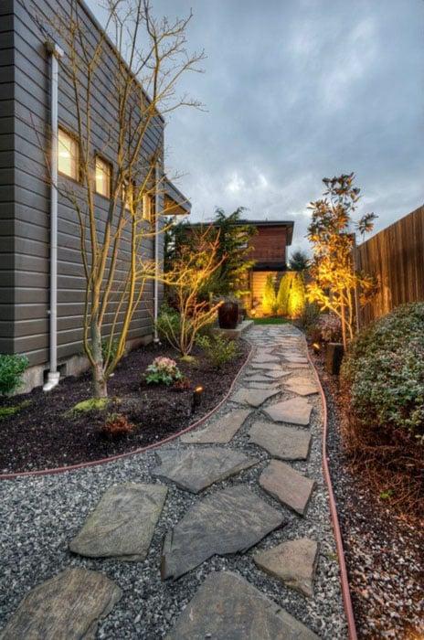 Blue stone pathway in backyard